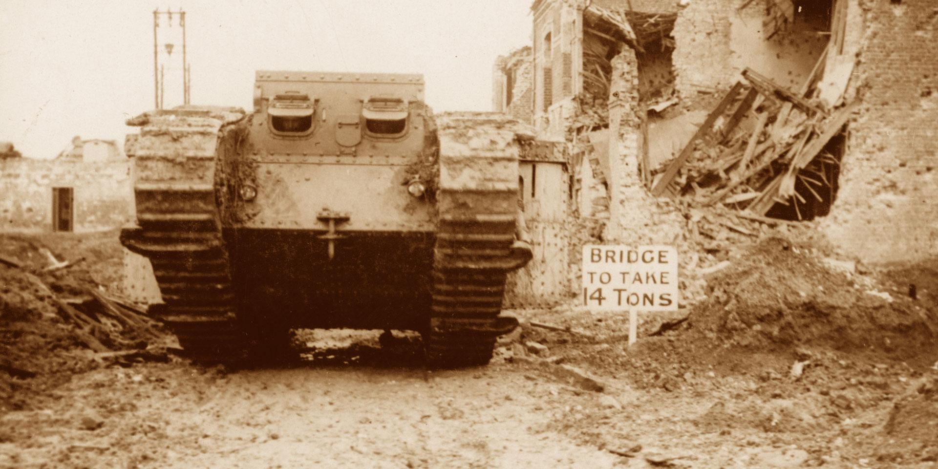 A Mk II tank going into action at Arras, 10 April 1917