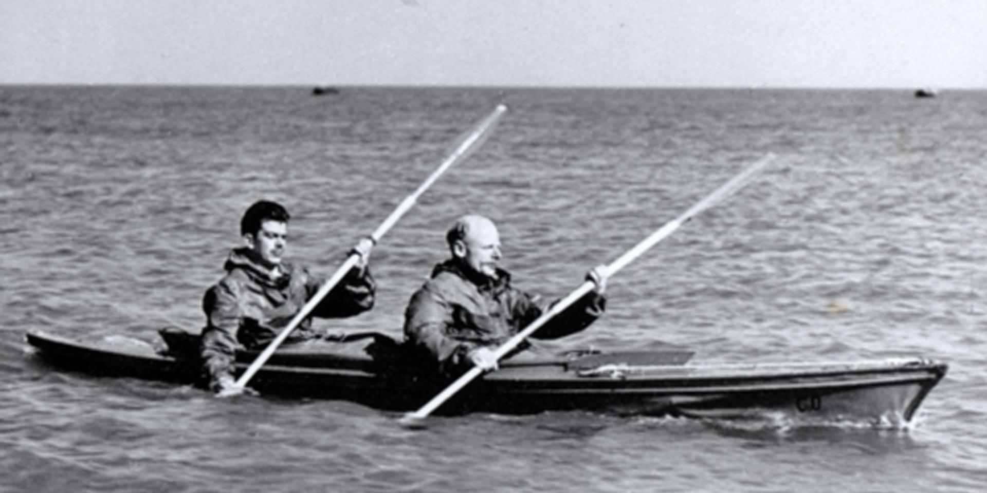 Major Herbert 'Blondie' Hasler and a colleague paddling a canoe, c1942