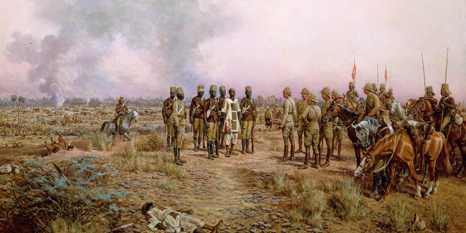 Major-General Herbert Kitchener meets the Emir Mahmud after defeating him at Atbara, April 1898