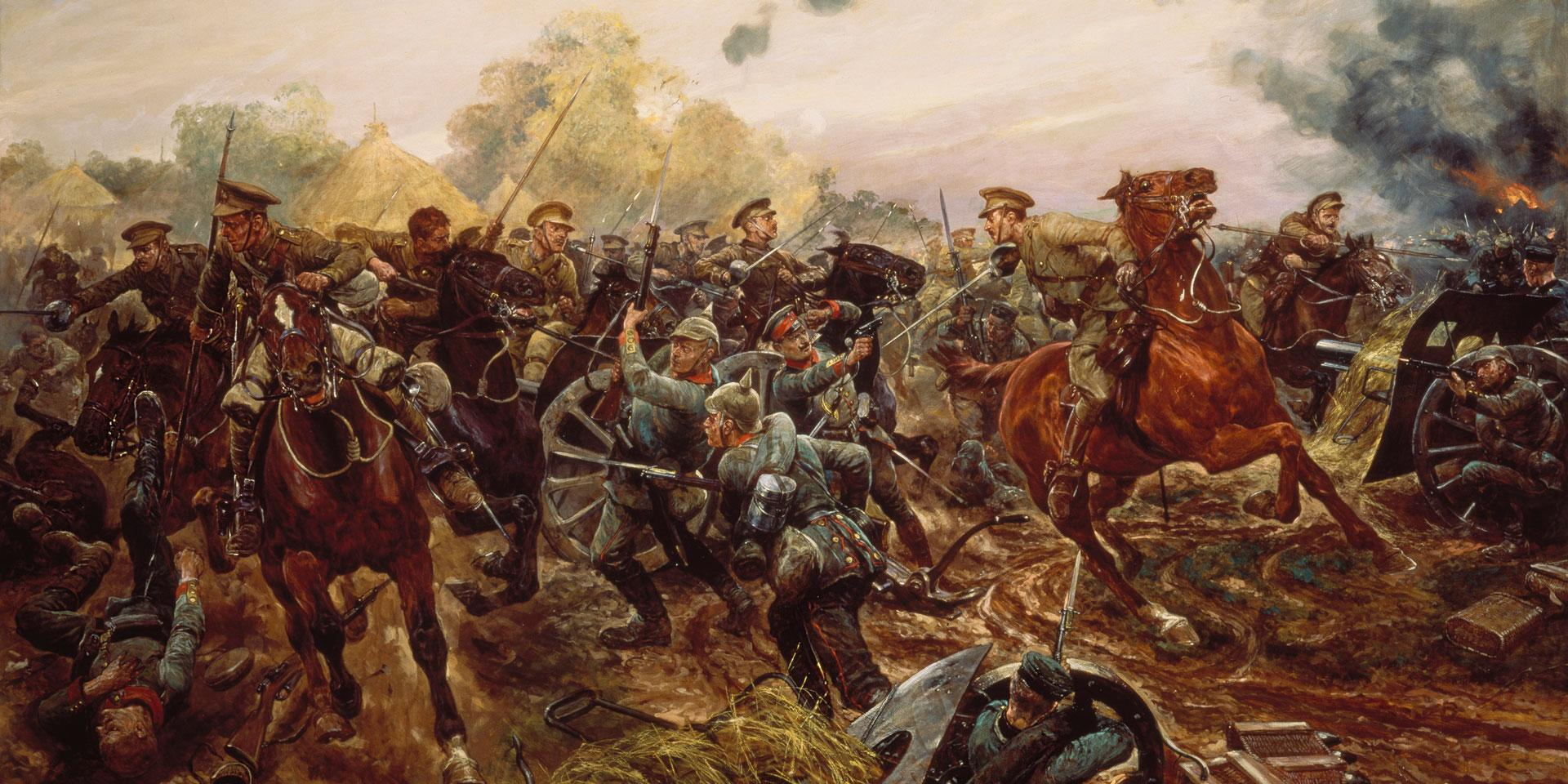 Captain Francis Grenfell leading the 9th Lancers at Audregnies, 24 August 1914