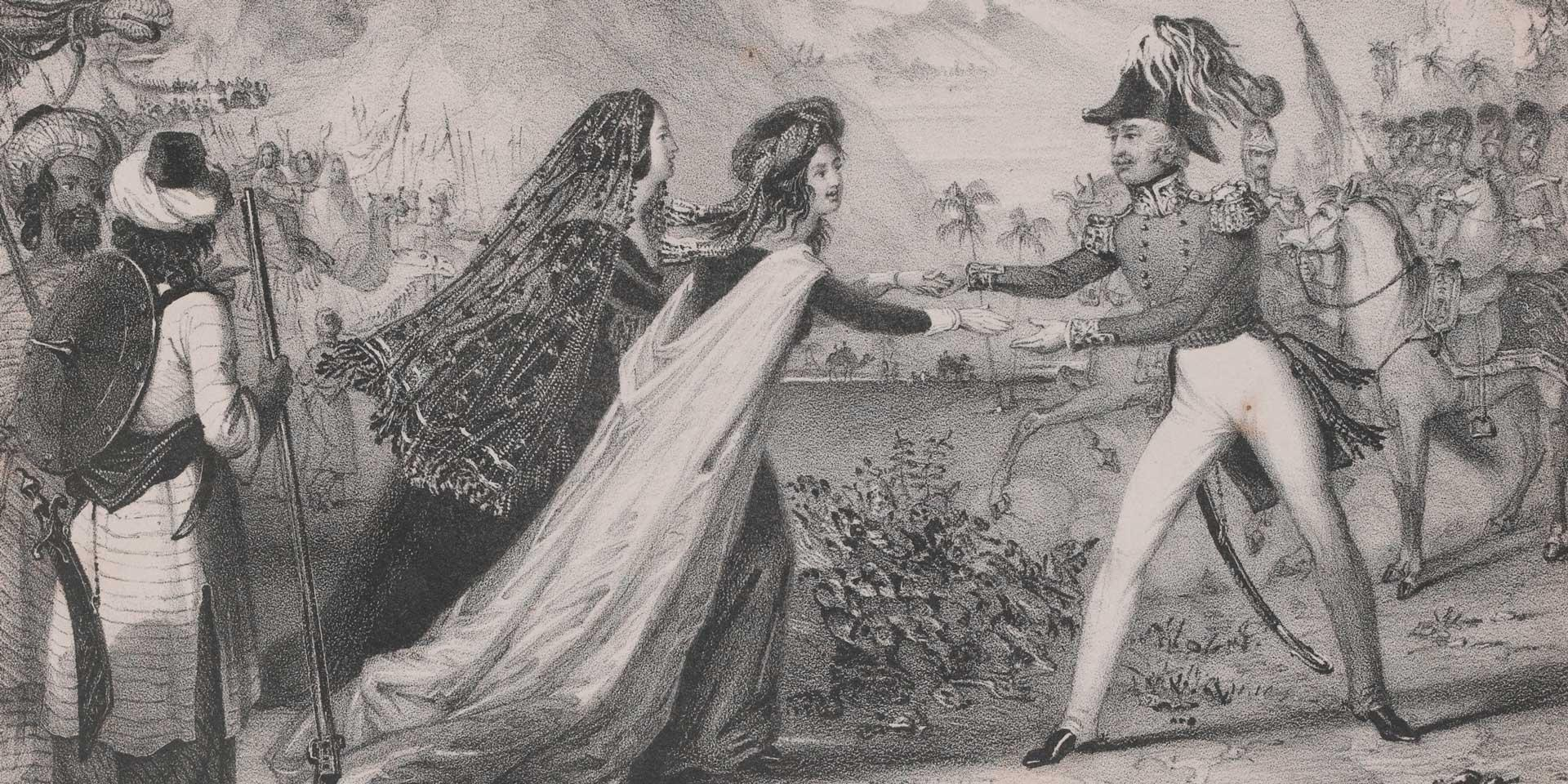 Major-General Sir Robert Sale rescuing his wife and daughter in Kabul, 1842