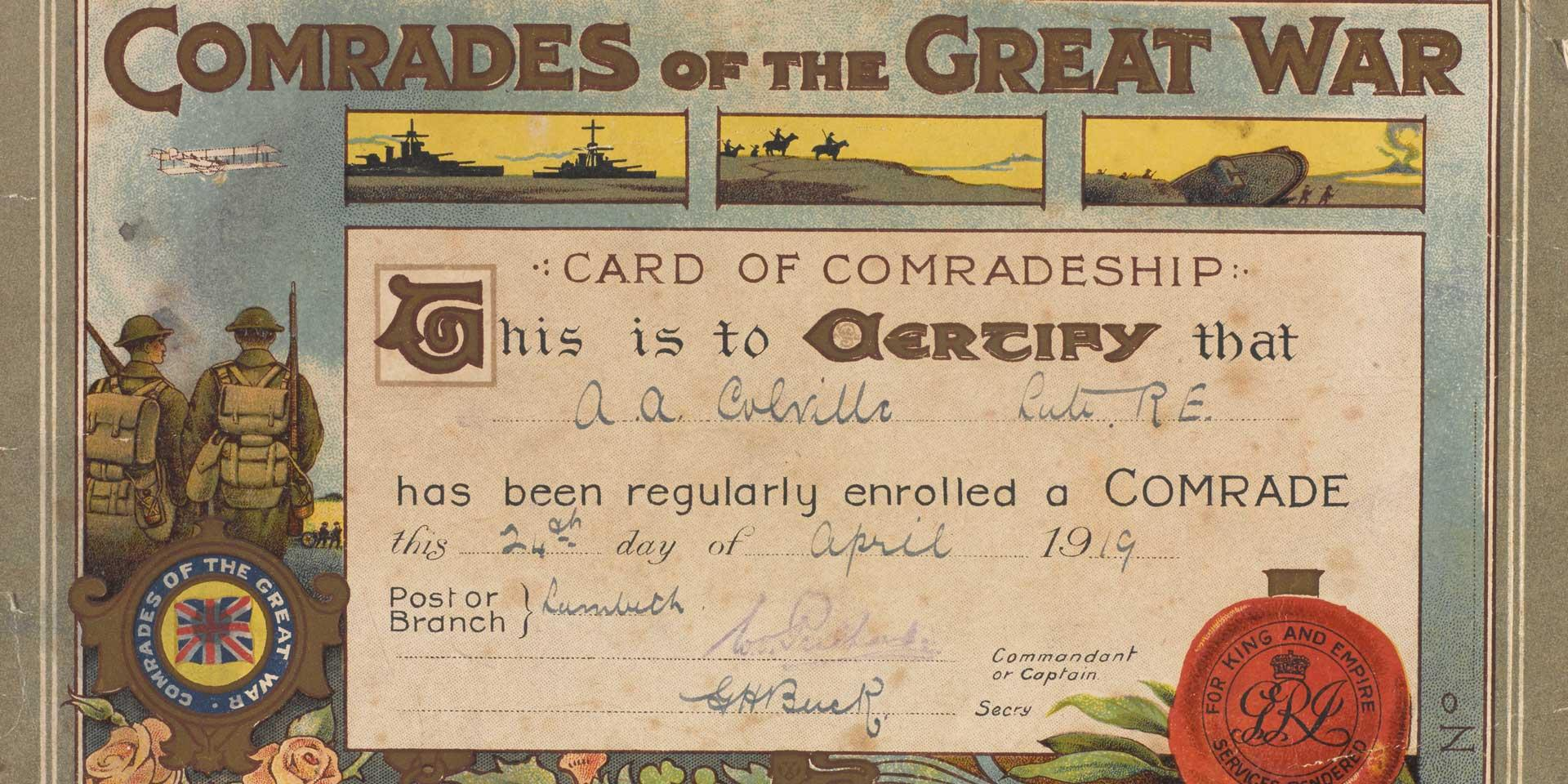 Comrades of the Great War membership enrolment card, 24 April 1919