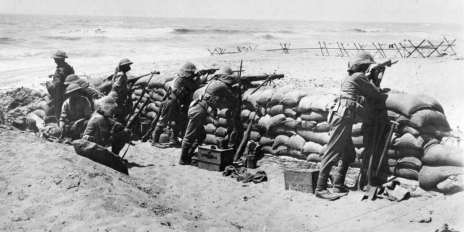 The Black Watch (Royal Highlanders) behind sandbag defences on the coast near Arsuf, 1918