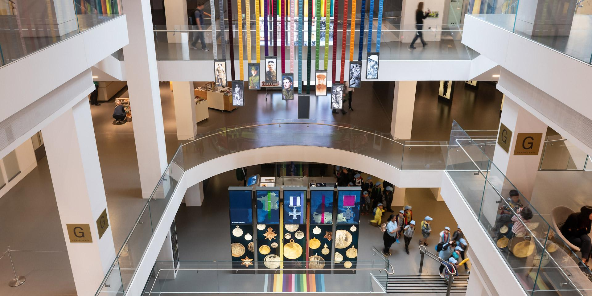 Ribbon display in the atrium