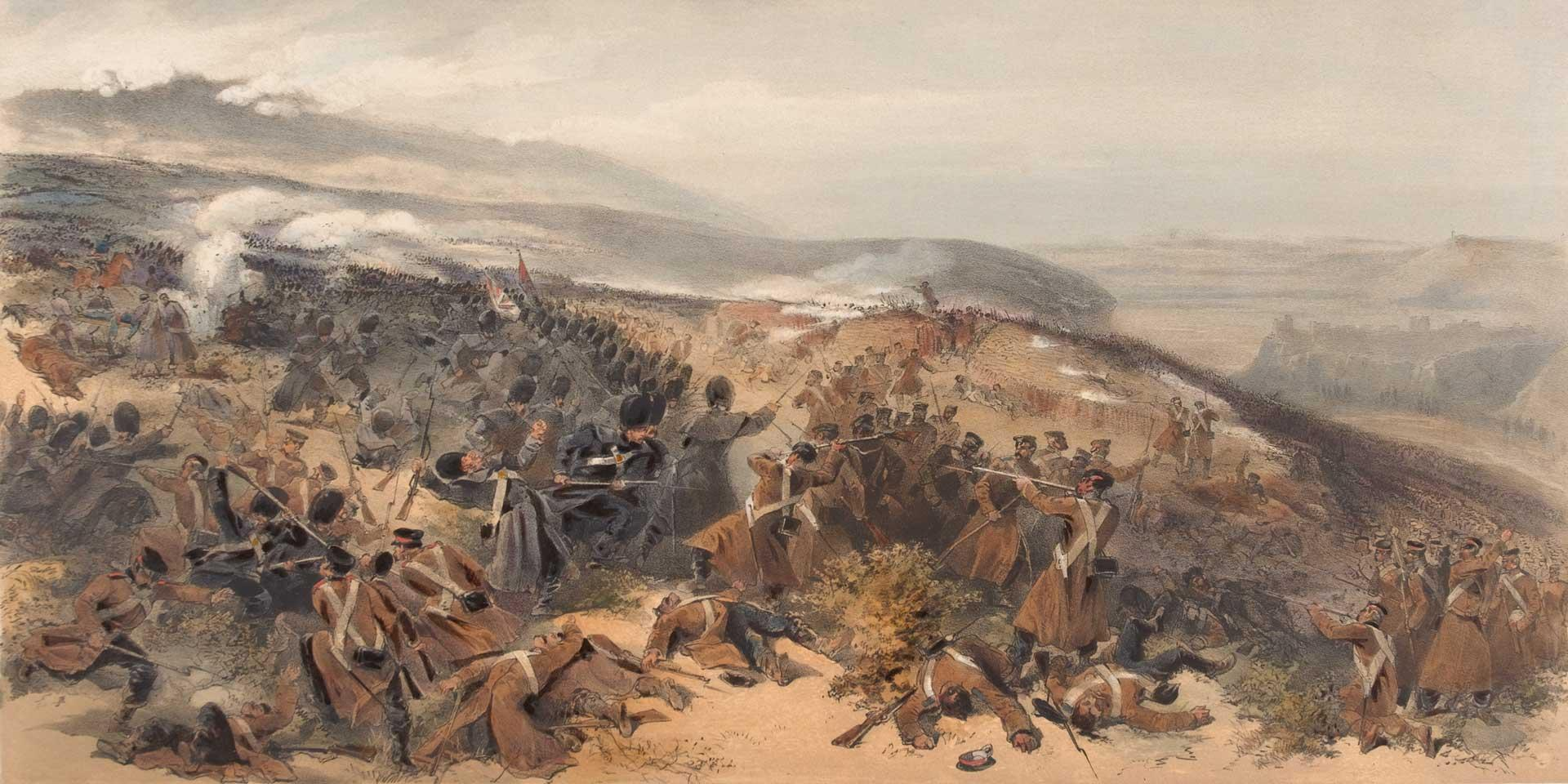 The Guards taking a Russian battery at Inkerman, November 1854