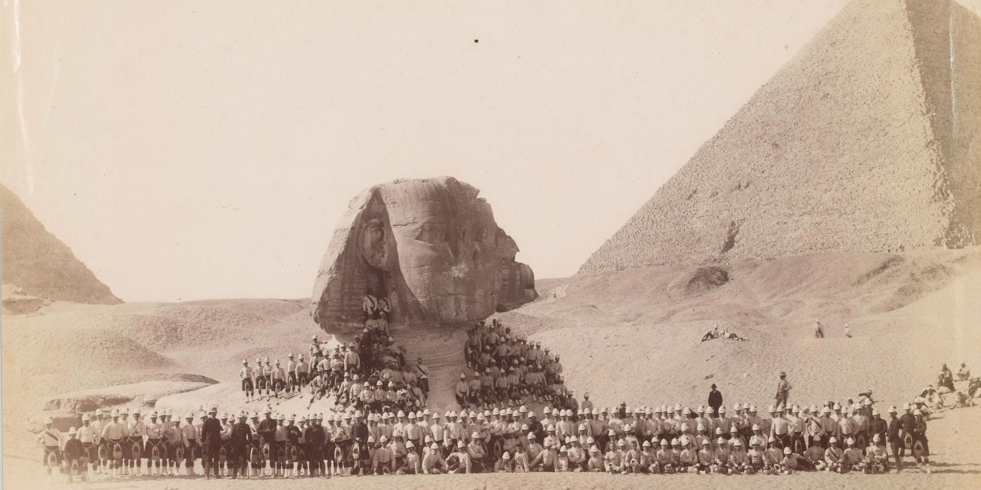 42nd Highlanders in front of the Sphinx at Giza, 1882
