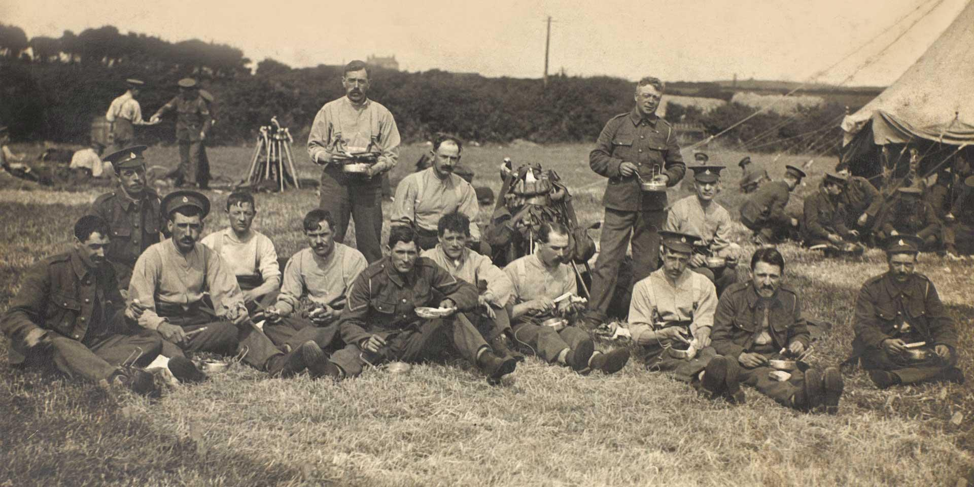 Members of the 10th (Prince of Wales's Own Royal) Hussars in camp, 1914