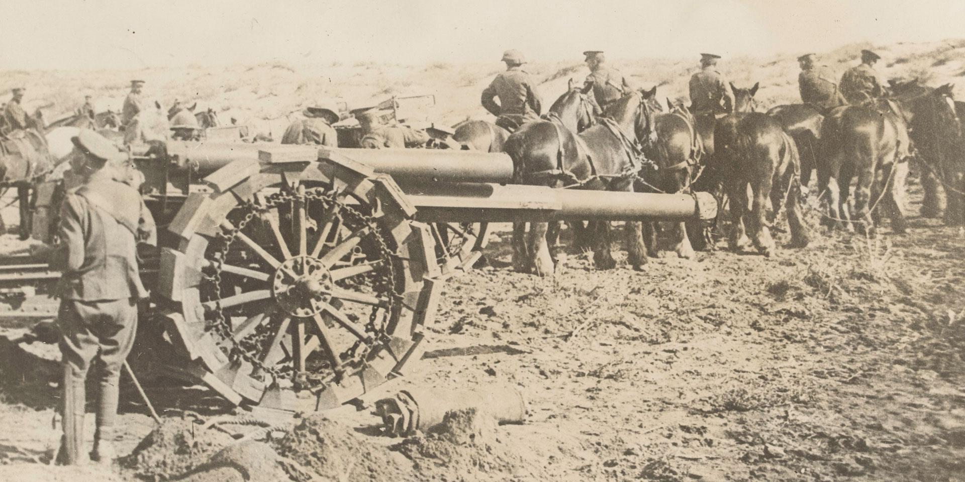 Horses pulling heavy howitzers, c1916