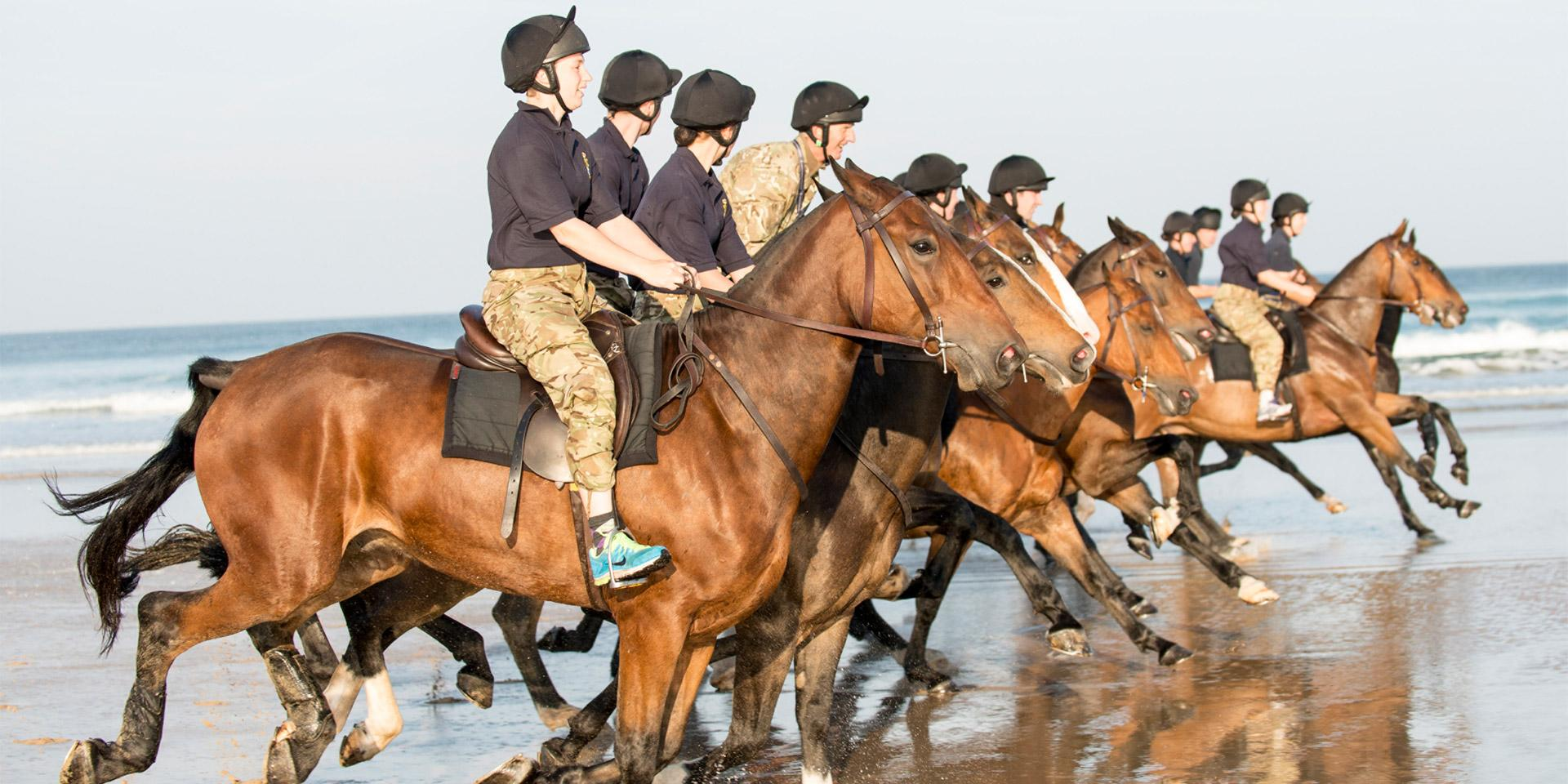 The King's Troop, training in Cornwall, 2015.