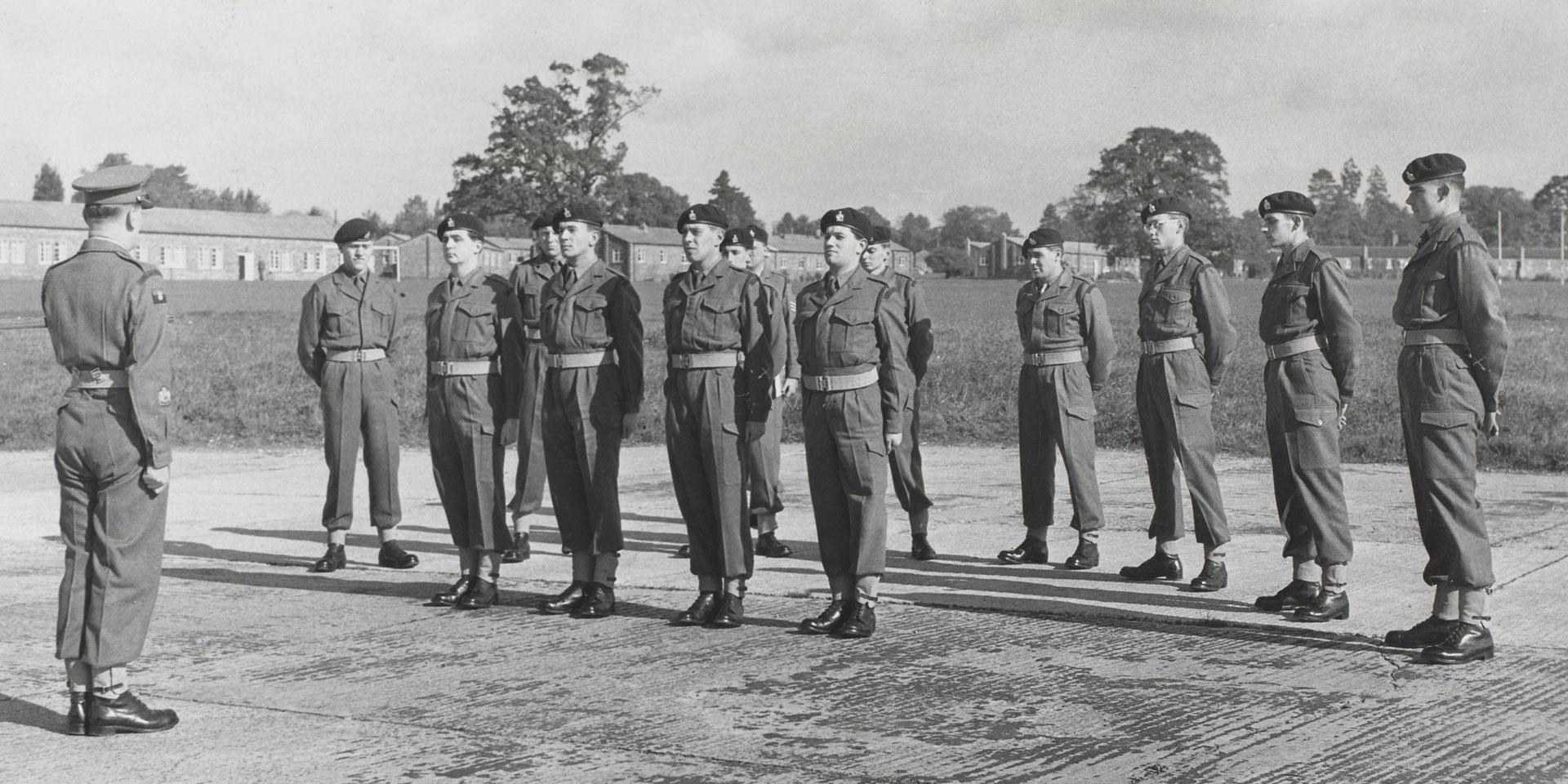 Soldiers of the Intelligence Corps on parade, c1960