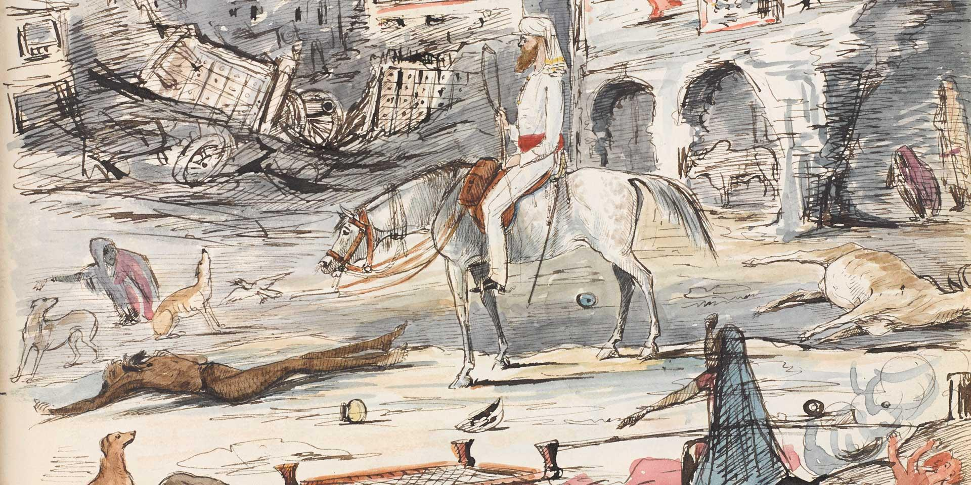 Captain John Crealock, 95th (Derbyshire) Regiment, riding through Kotah after the British assault, 1858