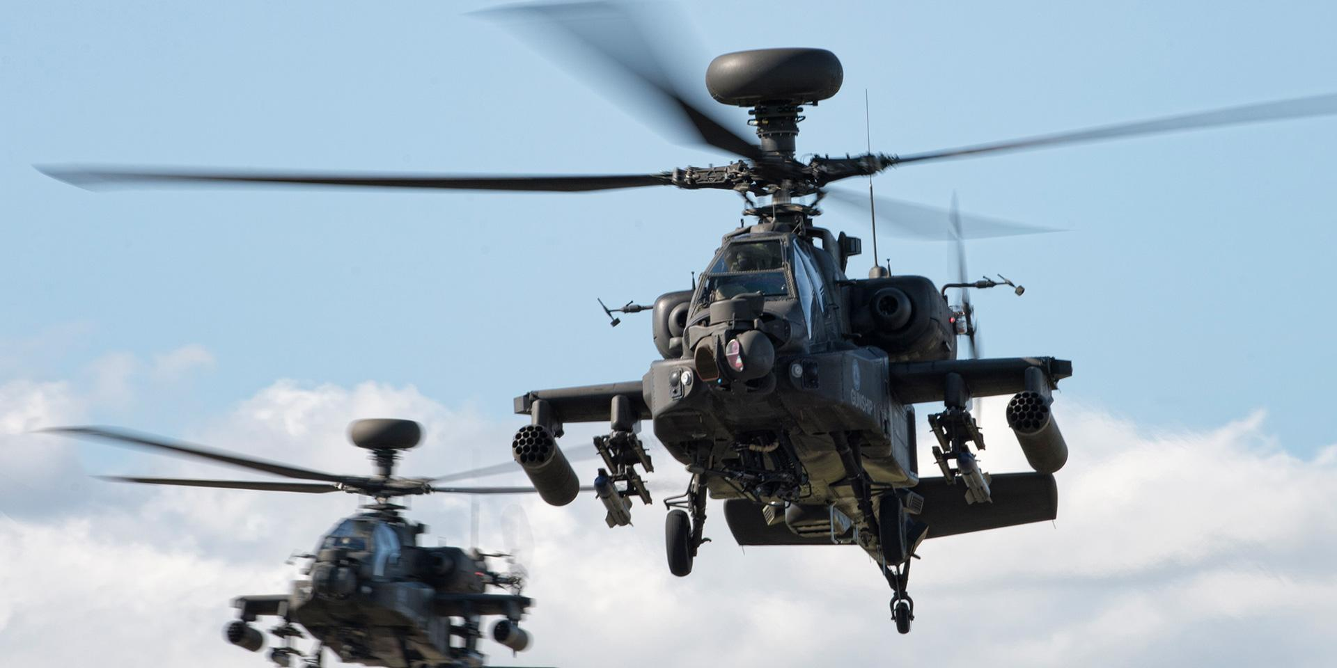 AH64 attack helicopters from the Army Air Corps' Apache Display Team, 2015