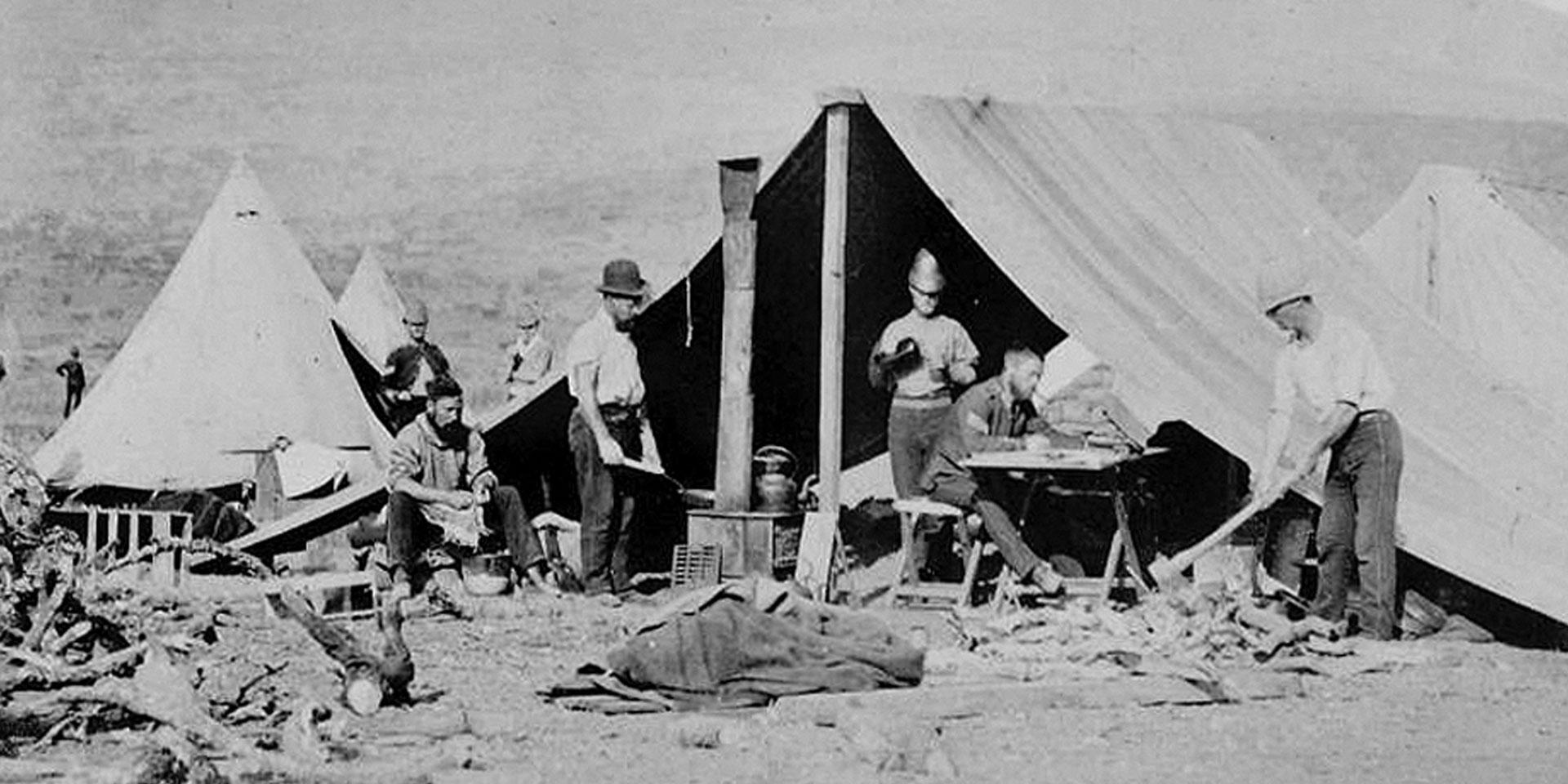 Mess servants and field kitchen of the 80th Regiment of Foot (Staffordshire Volunteers), c1879