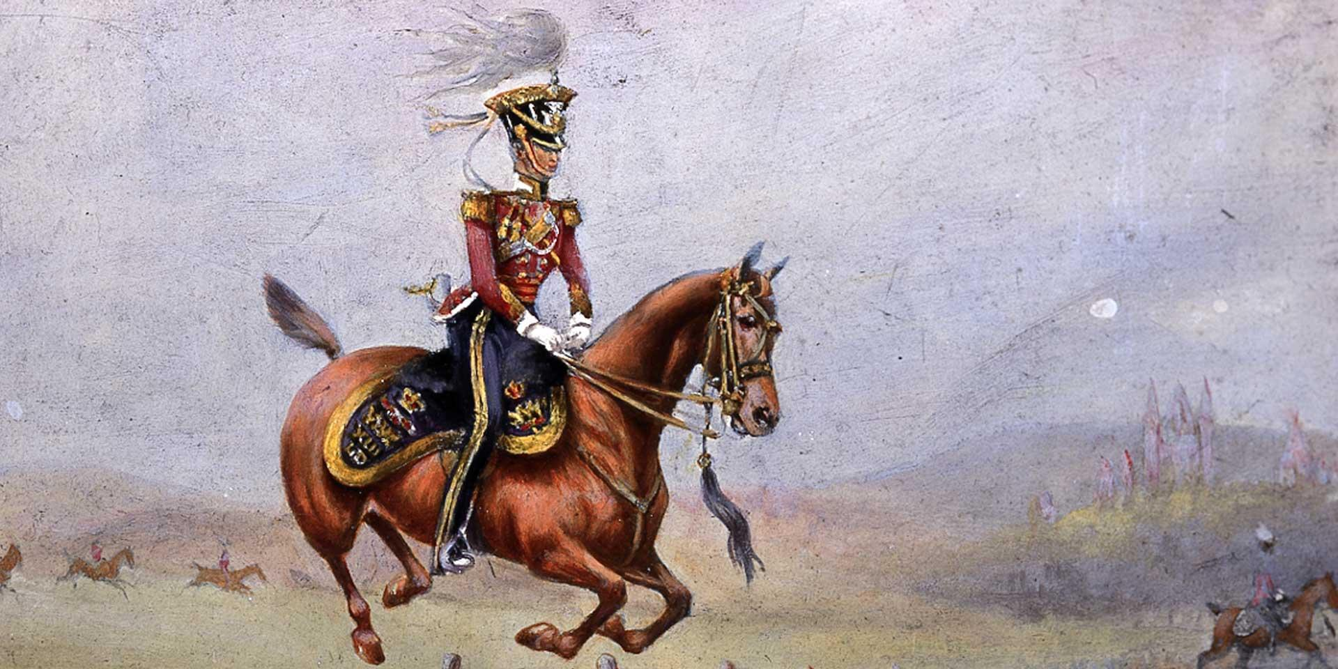 An officer of the 13th Regiment of (Light) Dragoons jumping a fence, 1835
