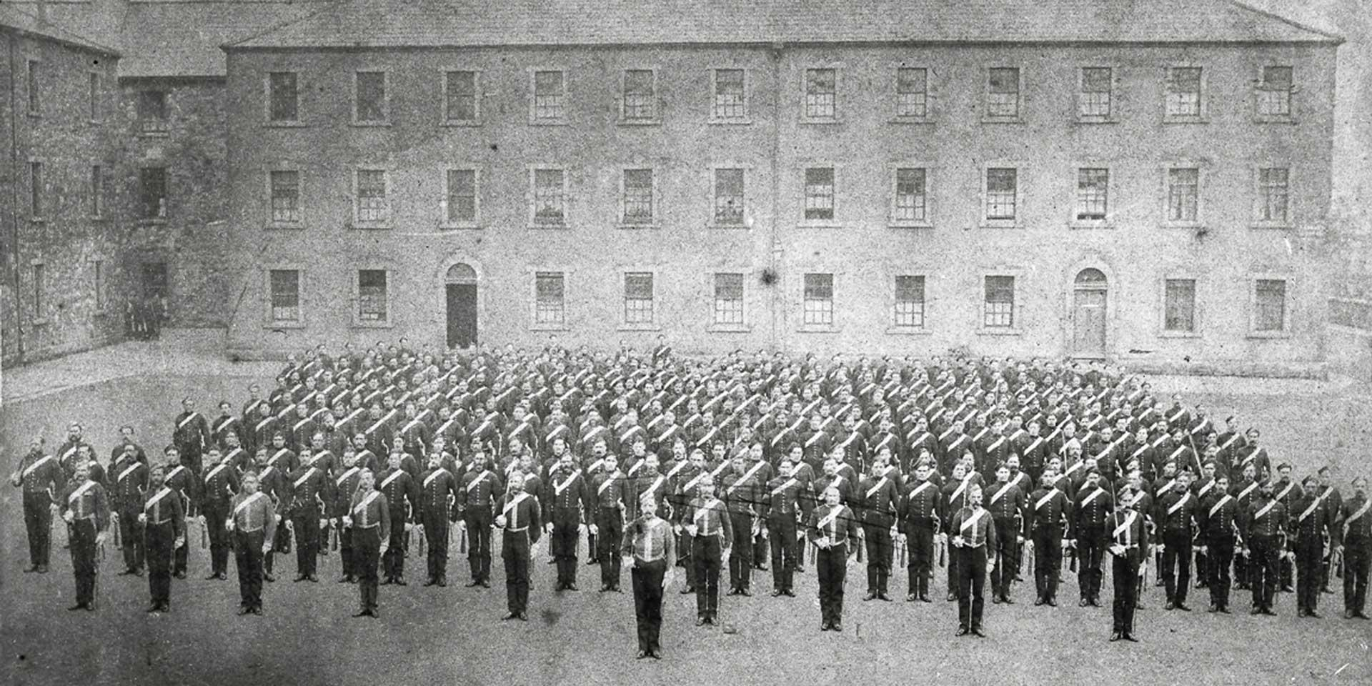 6th (Inniskilling) Dragoons drawn up for dismounted parade at the Royal Barracks, Dublin, 1875