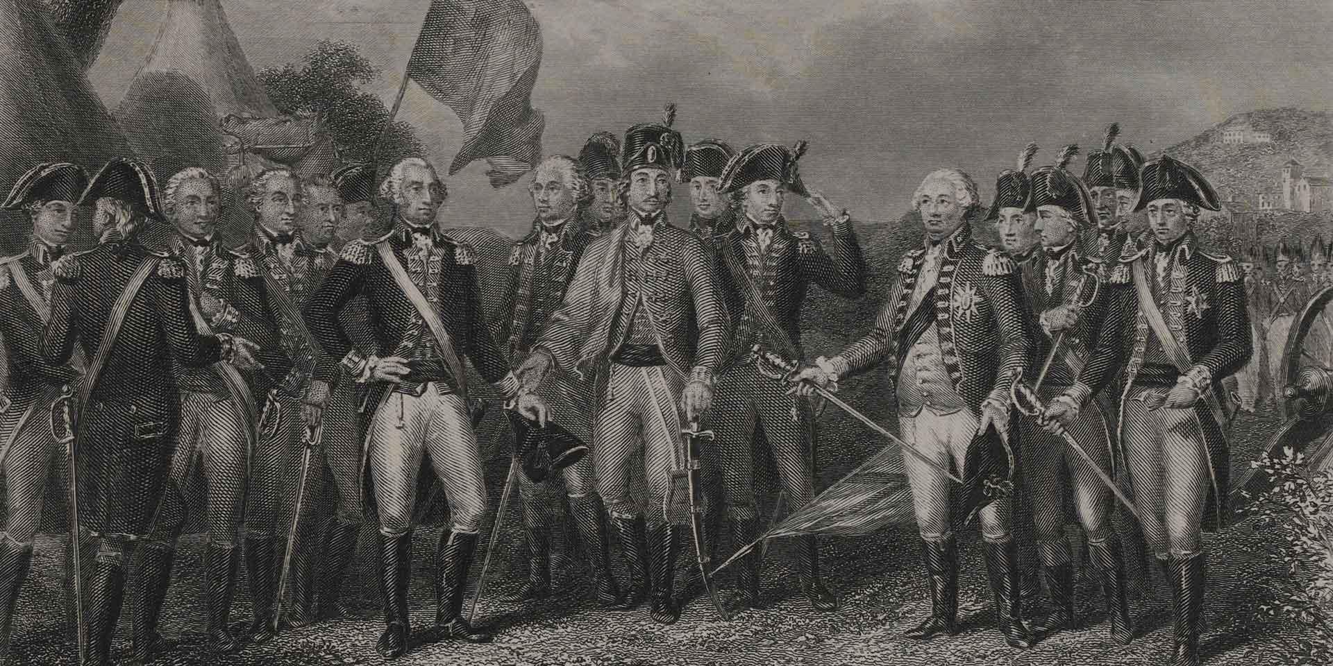 The British surrender at Yorktown, 1781