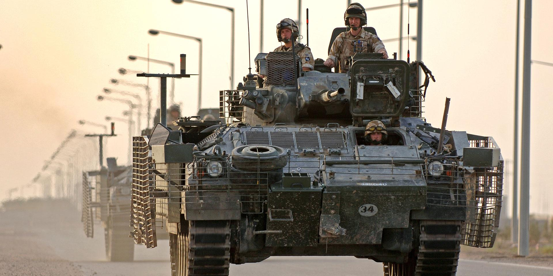 1st Battalion, The Princess of Wales's Royal Regiment depart Basra Air Station in their Warrior vehicles, 2006