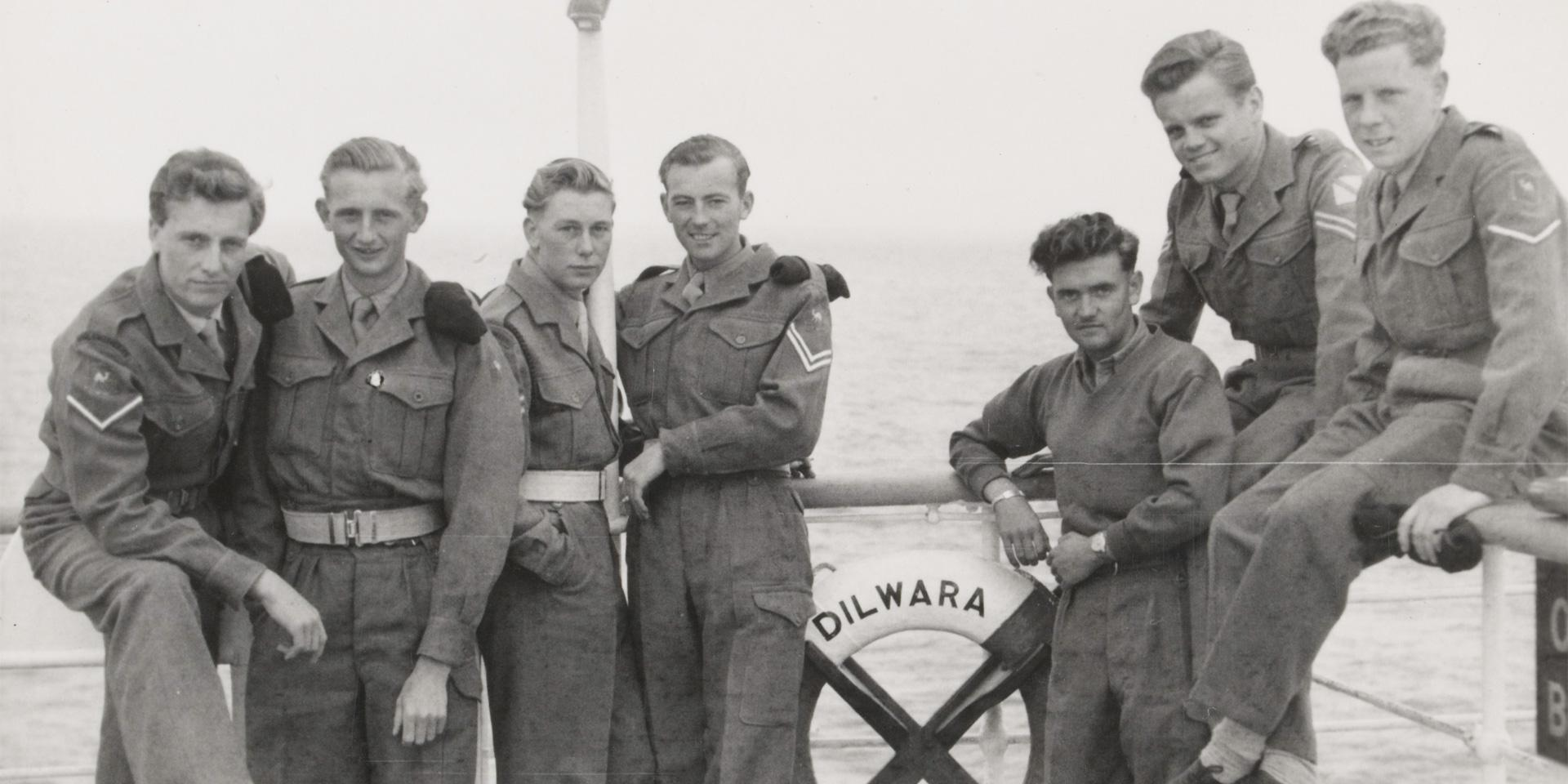 Royal Engineers homeward bound from Suez on the SS 'Dilwara', 1954