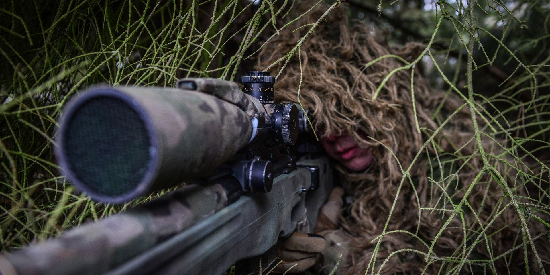 Sniper from 1st Battalion The Princess of Wales's Royal Regiment training in Germany, 2015