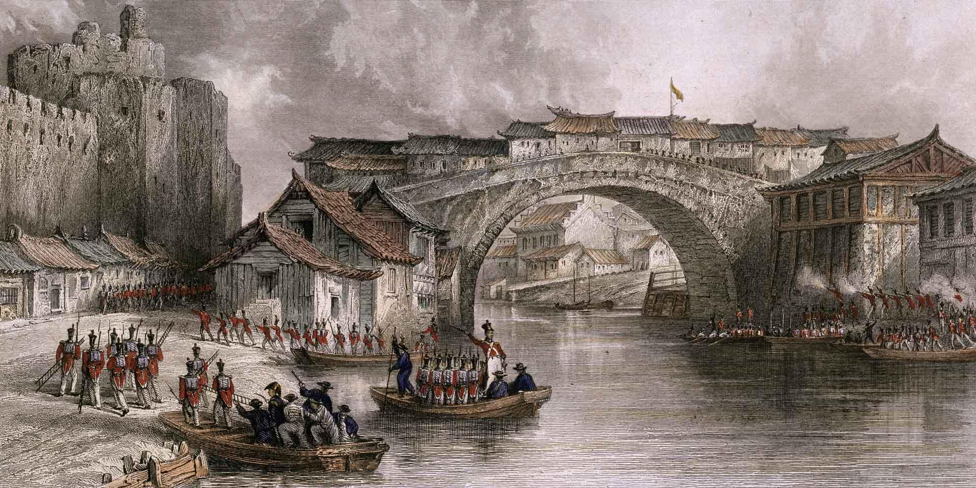 Troops landing at Chinkiang, China, July 1842