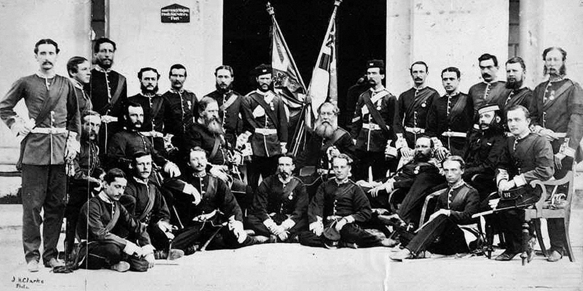 Members of the 107th Regiment of Foot (Bengal Infantry) at Allahabad, 1865