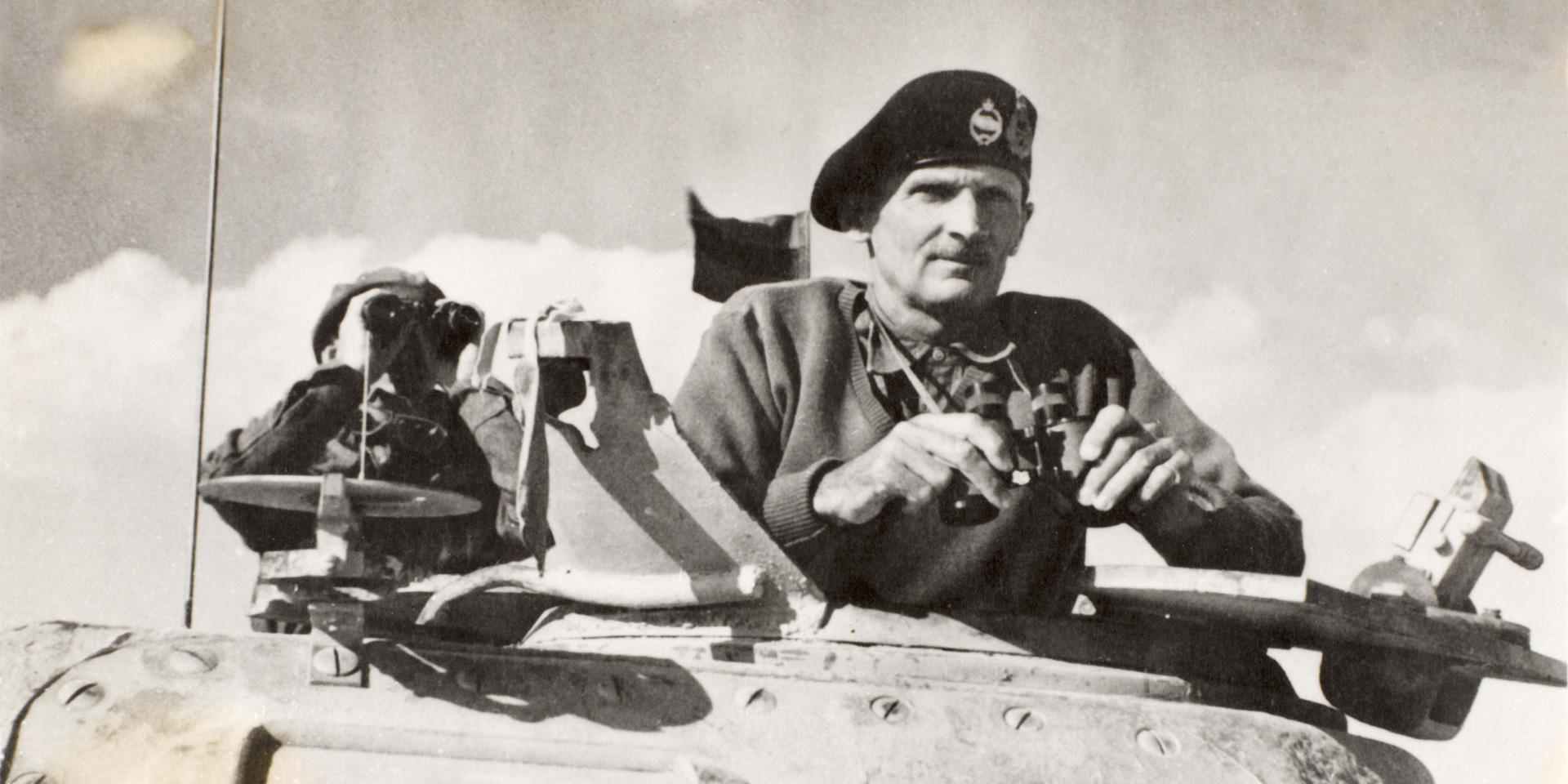 Monty watches his tanks move up in North Africa in November 1942