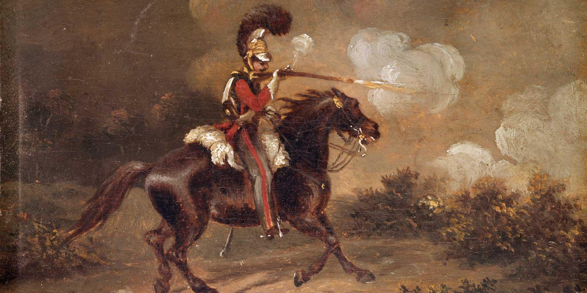 A trooper of the 1st Life Guards firing a carbine, c1830