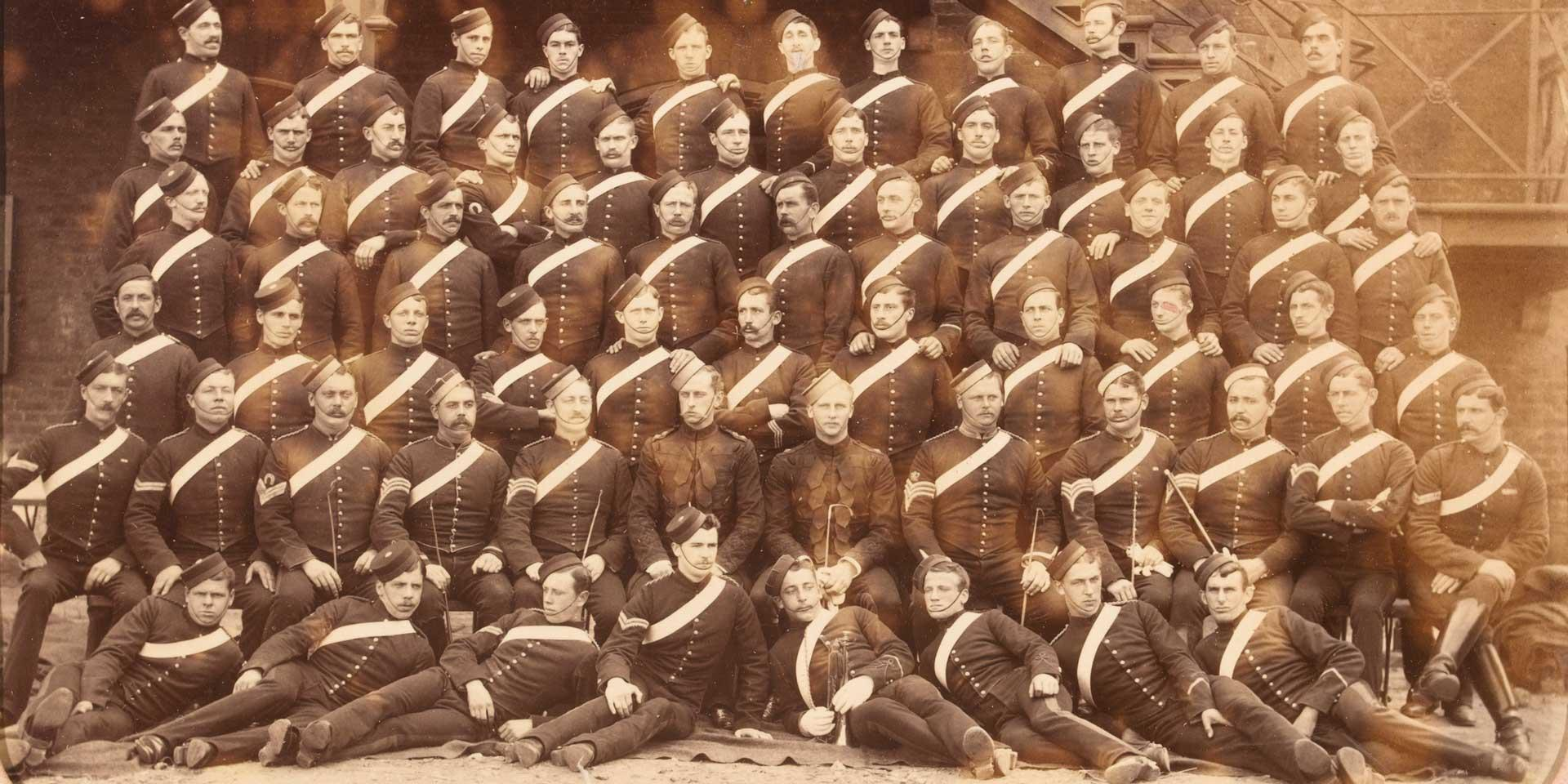 Members of the 1st (Royal) Dragoons in stable dress, Aldershot, 1886