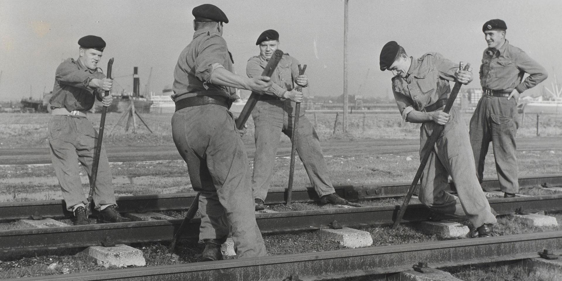 Members of the Royal Pioneer Corps undertaking railway maintenance, c1960