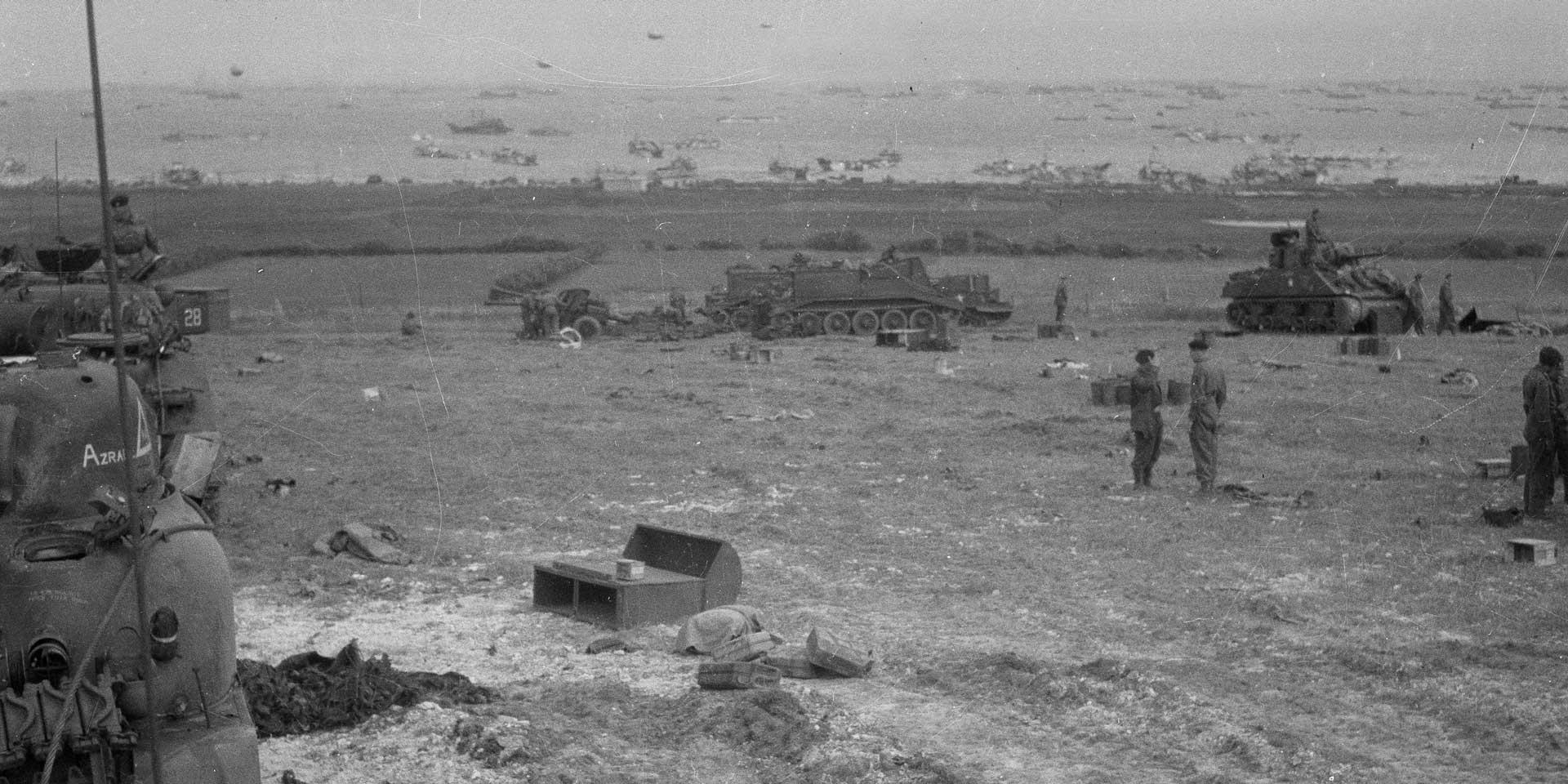 Tanks on King Beach, Gold Beach, 6 June 1944