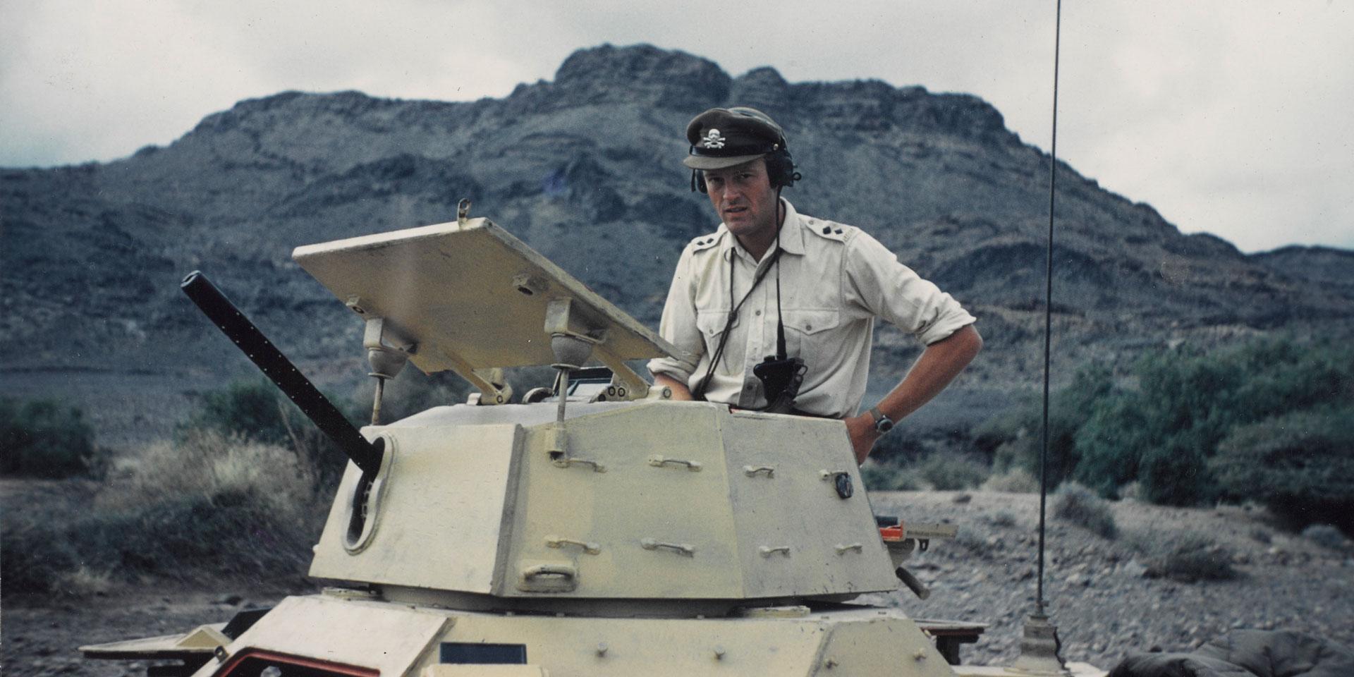 Lieutenant Antony Mallaby, 17th/21st Lancers, near Dahla on the Yemen frontier, 1962