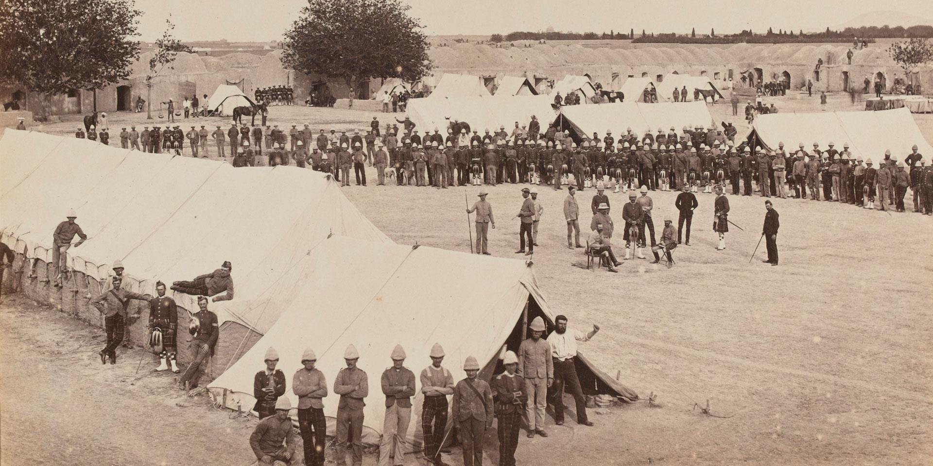 The 78th Highlanders at Barrack Square, Kandahar, c1880