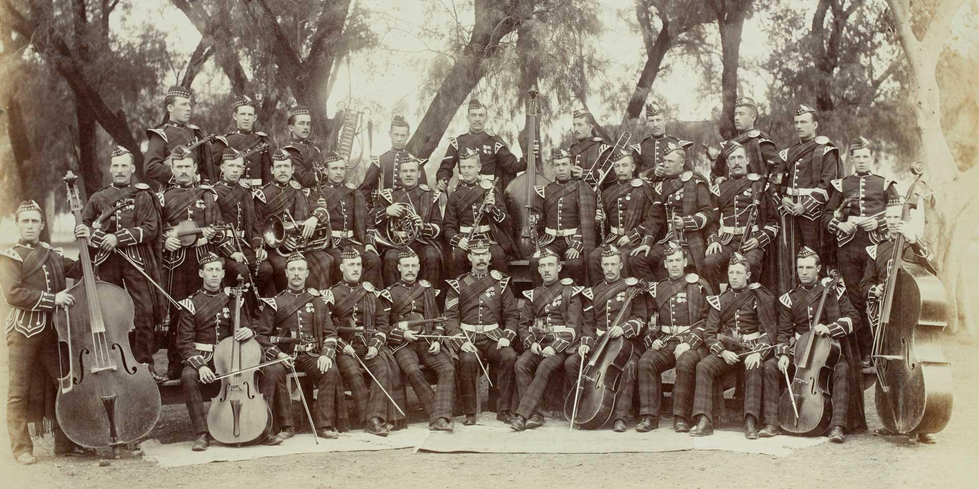 The King's Own Scottish Borderers' string band, India, 1893