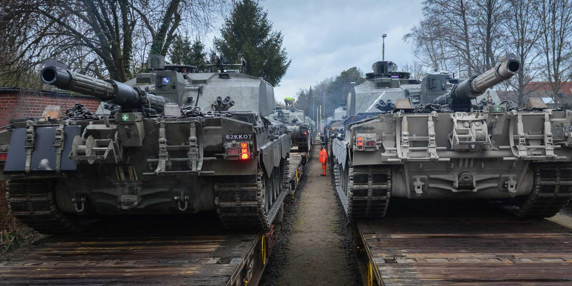 Challenger 2 tanks of The Queen's Royal Hussars loaded on trains at Sennelager, Germany, 2016