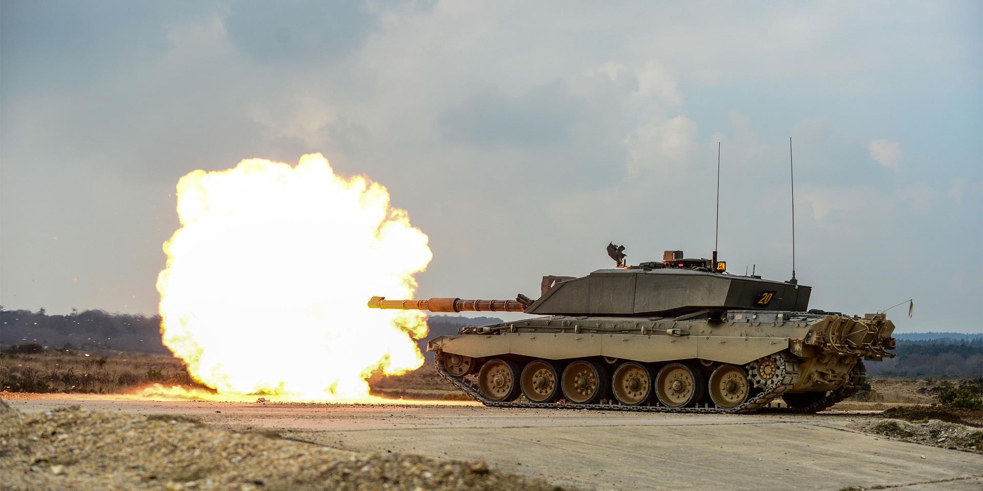 A Challenger 2 tank at Lulworth Ranges, Dorset, 2016