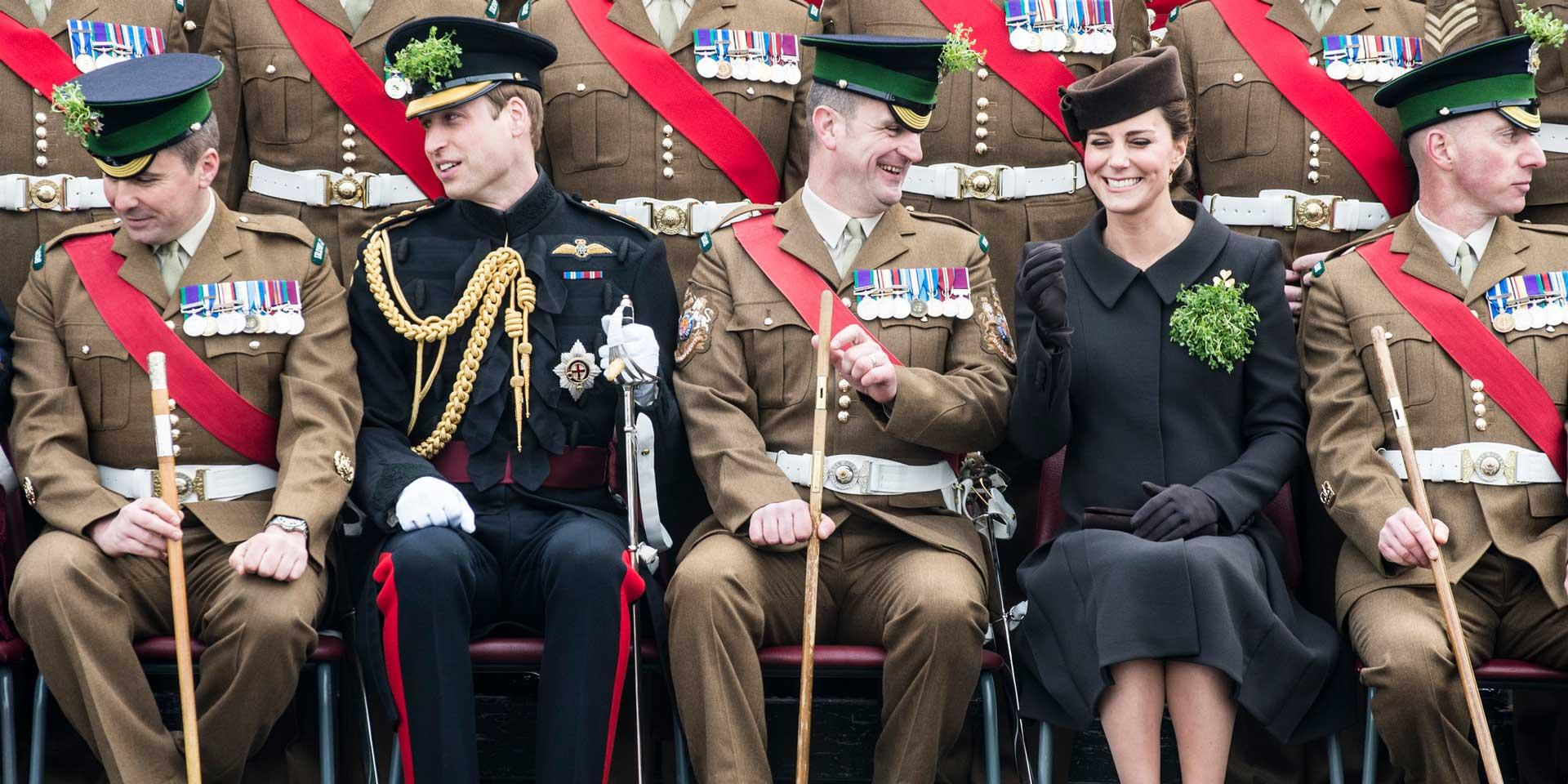 The Duke and Duchess of Cambridge with the Irish Guards, St Patrick's Day, Aldershot, 17 March 2015