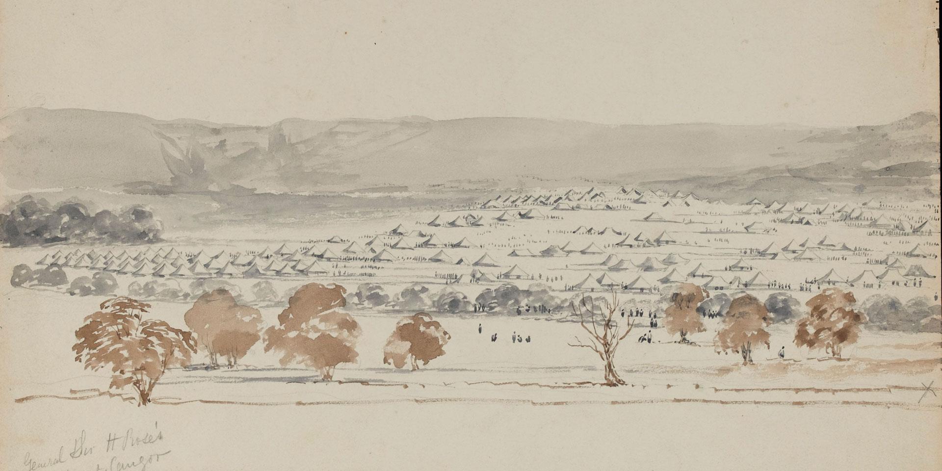 General Sir Hugh Rose's camp at Saugor, February 1858