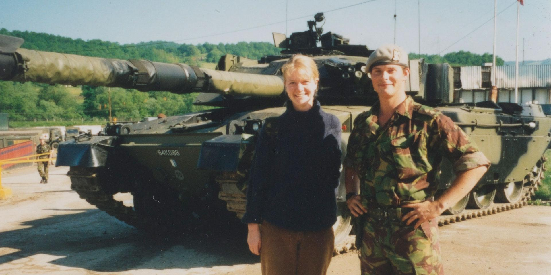 A civilian liaison officer with an officer of the Royal Scots Dragoon Guards and Challenger tank, Bosnia, 1996