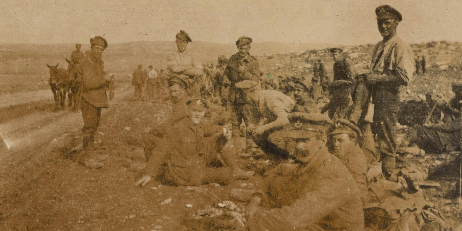 Members of 10th (Shropshire and Cheshire Yeomanry) Battalion The King's Shropshire Light Infantry in Palestine, 1917