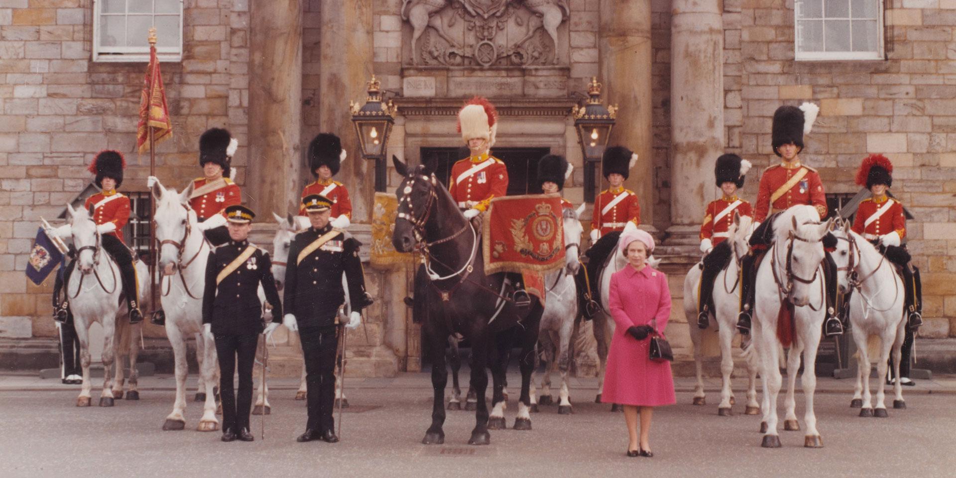 Queen Elizabeth II at The Royal Scots Dragoons Guards Tercentenary Parade, Edinburgh, 1978