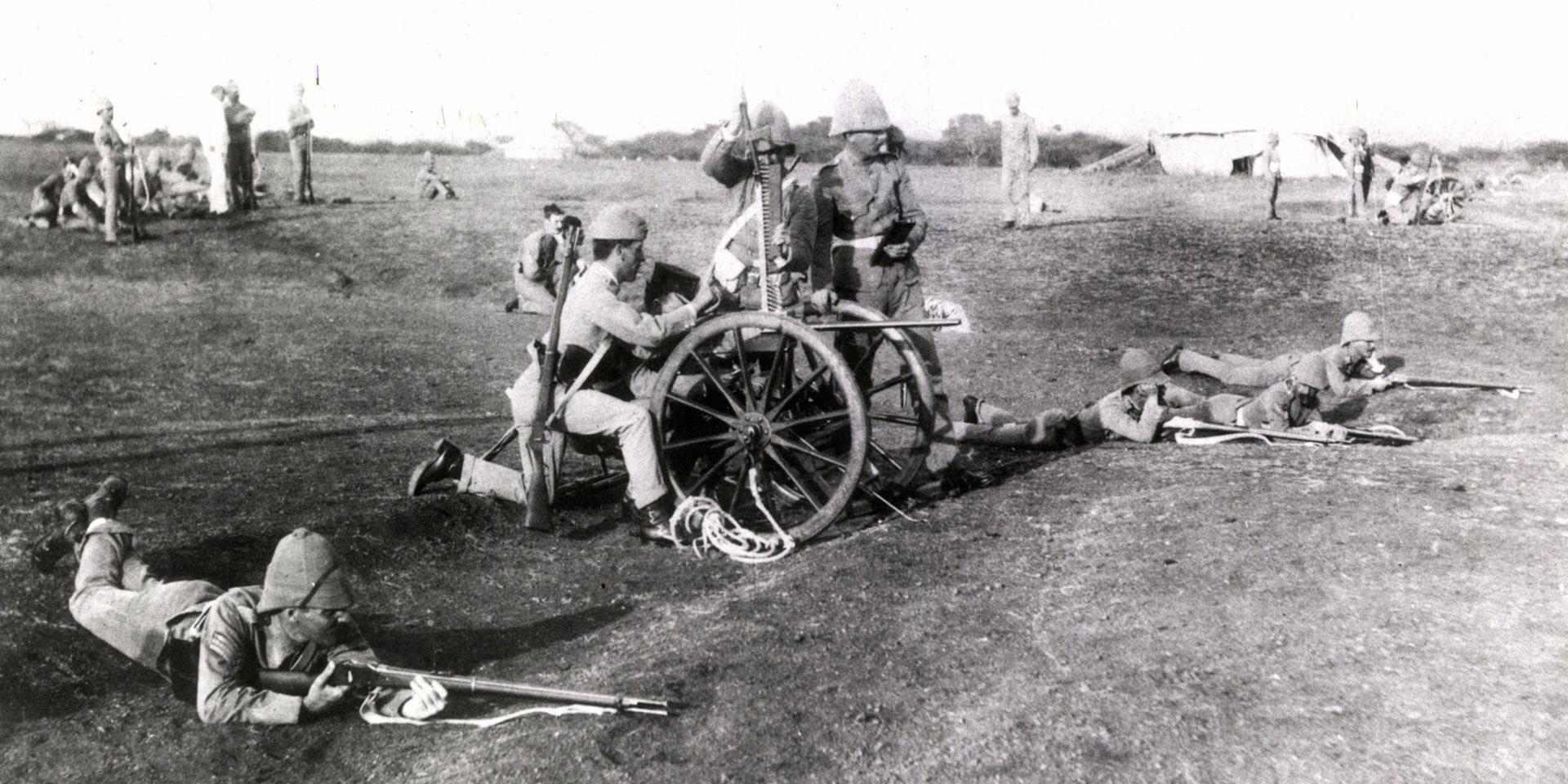 Members of The King's Own Yorkshire Light Infantry training with Gardner Guns, c1890