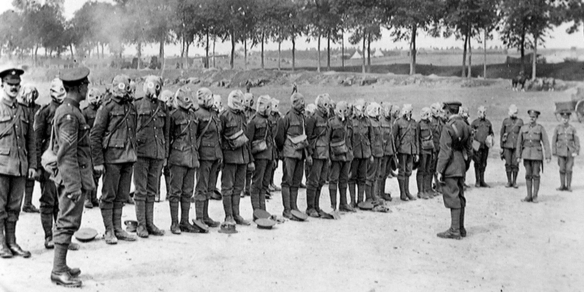 Irish Guards lined up for respirator drill on the Somme, September 1916
