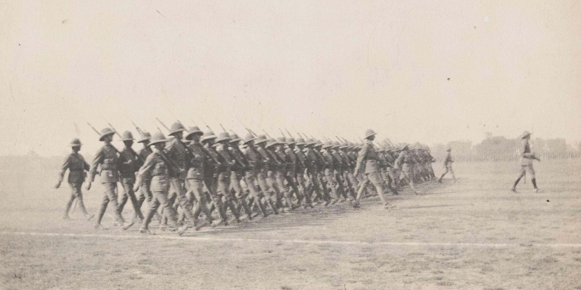 Members of 2/4th Battalion The Duke of Edinburgh's (Wiltshire Regiment) at the Armistice Parade in India, 1918