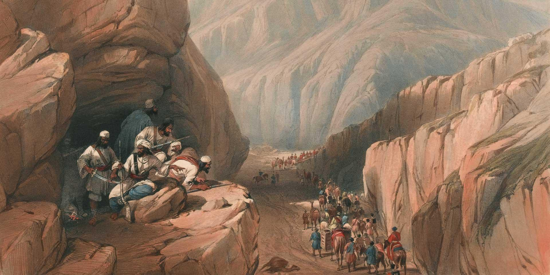 Troops from the Army of the Indus march through the Bolan Pass into Afghanistan, 1839