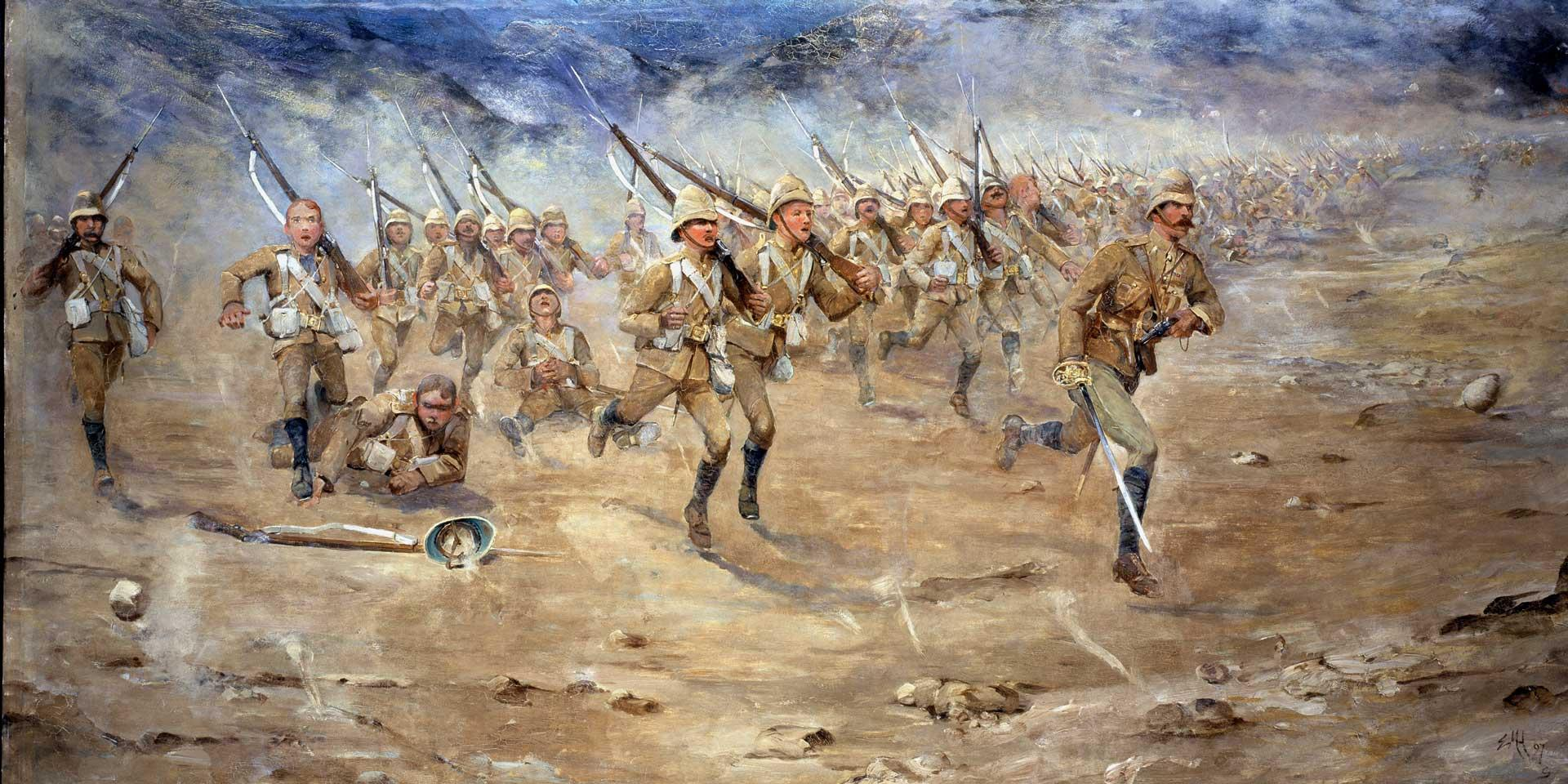 1st Battalion The Gloucestershire Regiment advancing, North West Frontier, 1897