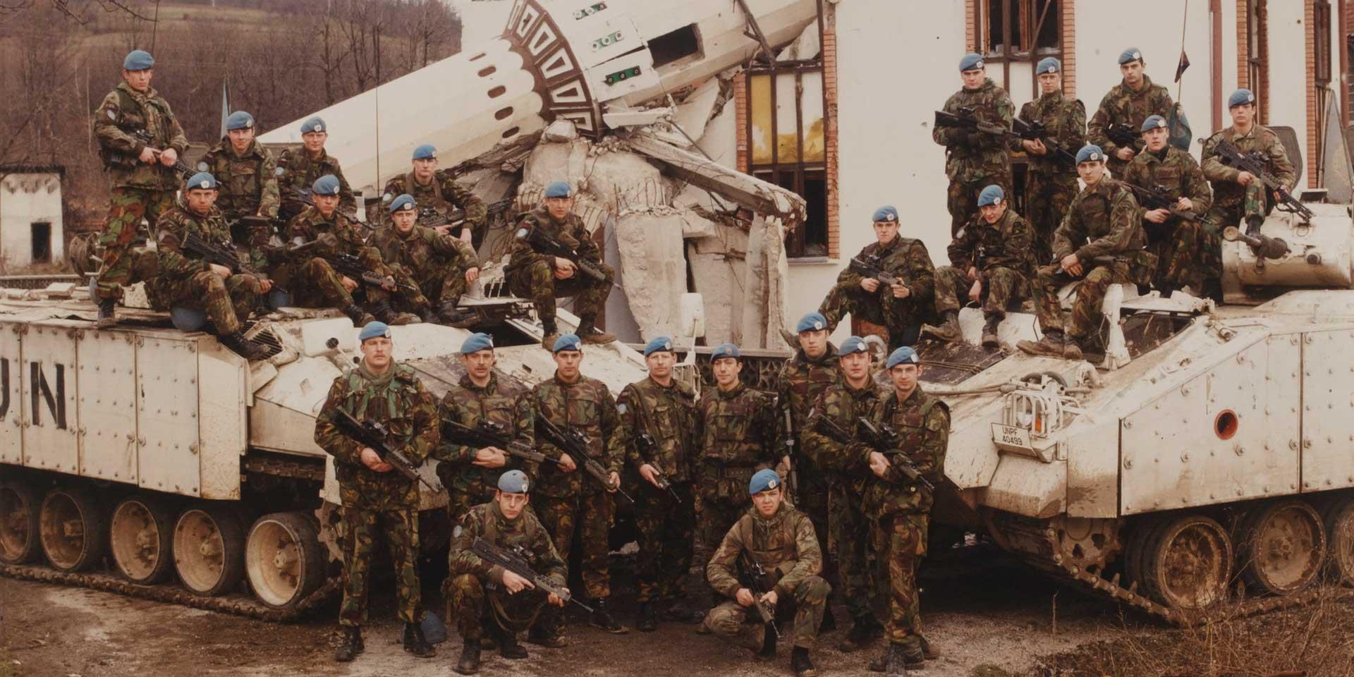 British UNPROFOR troops outside a destroyed mosque near Vitez, Bosnia, 1994