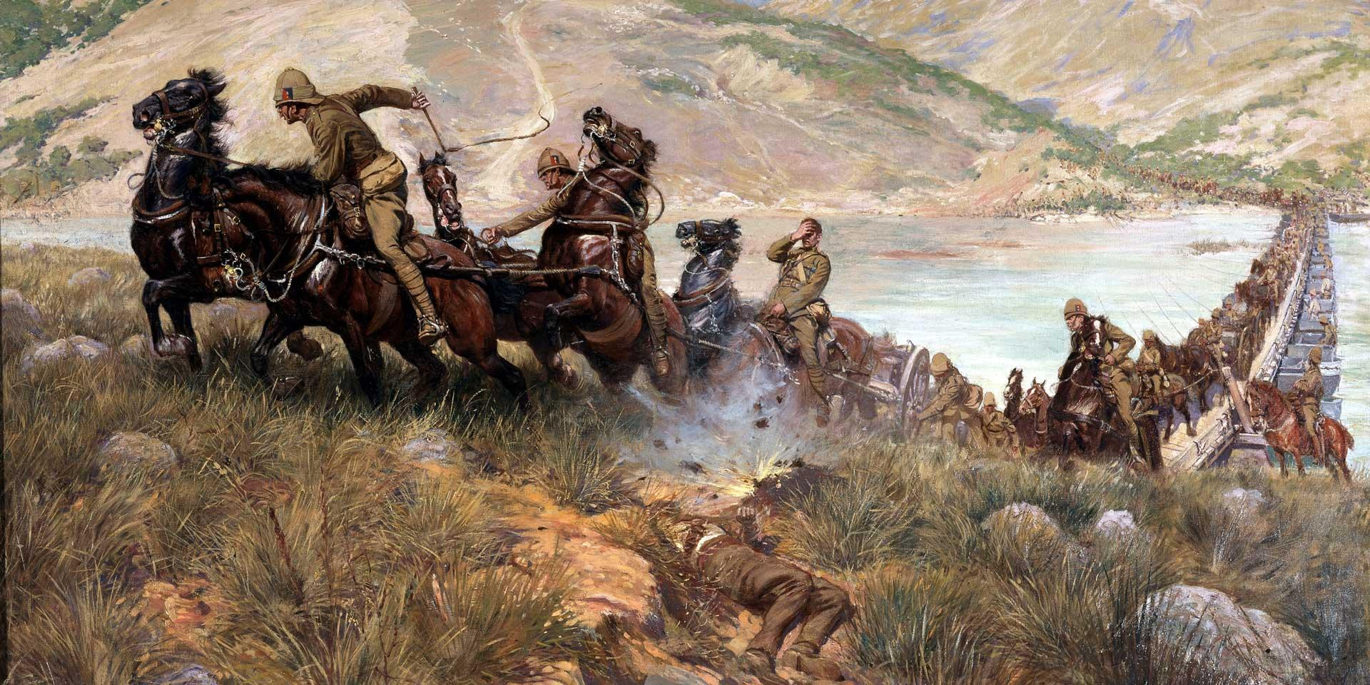 General Sir Redvers Buller's troops crossing the Tugela to relieve Ladysmith, February 1900