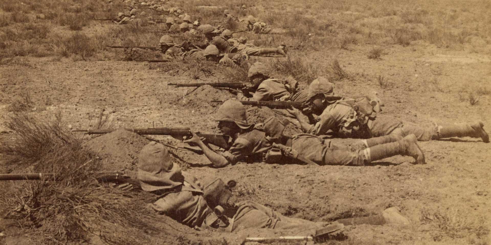 British infantry take cover, Orange Free State, c1899