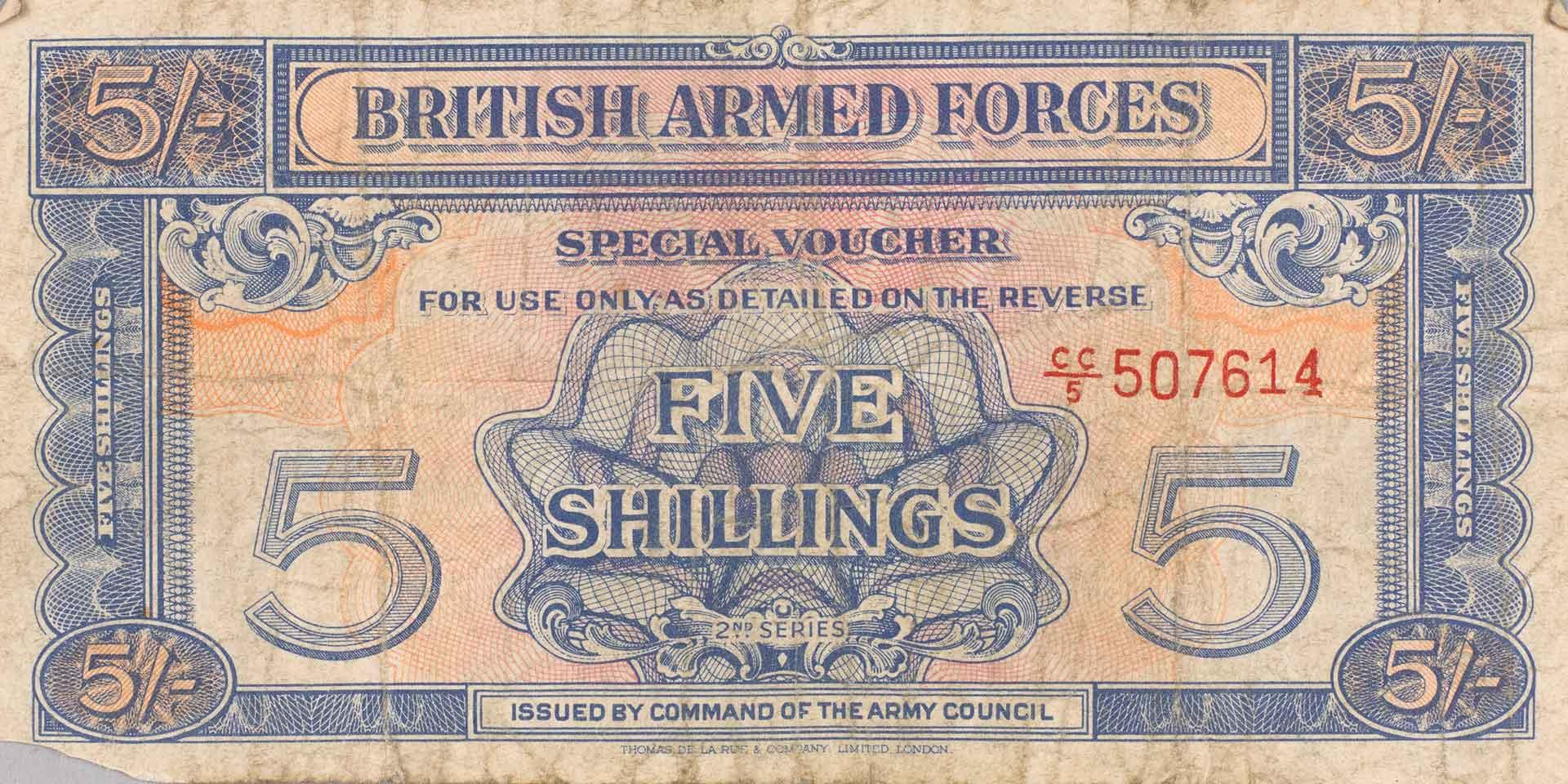 5 Shilling British Armed Forces Voucher, 1948