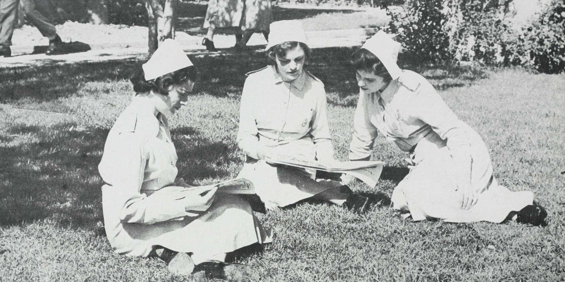 Nurses of Queen Alexandra's Royal Army Nursing Corps in the grounds of the Military Hospital, Malta, c1950